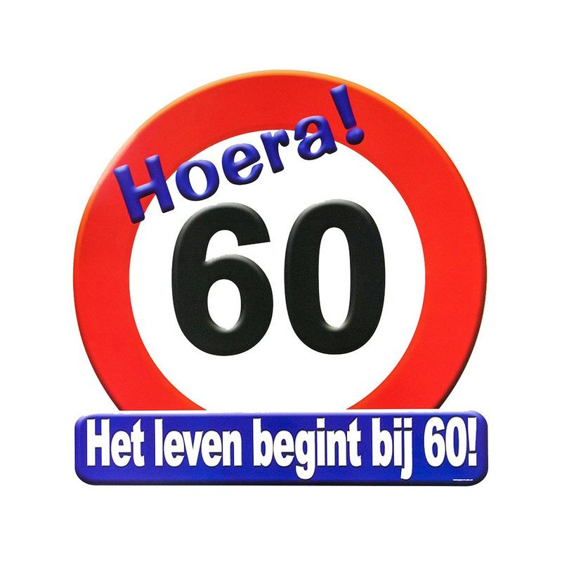Goede Hoera 60 jaar deurbord verjaardag cadeau/versiering   Fun en Feest TB-57