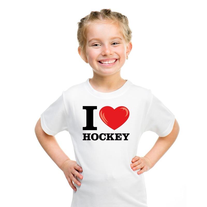 I love hockey t-shirt wit jongens en meisjes M (134-140) Wit