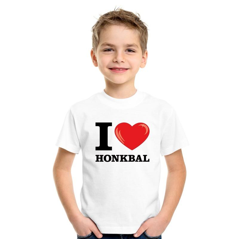 I love honkbal t-shirt wit jongens en meisjes M (134-140) Wit