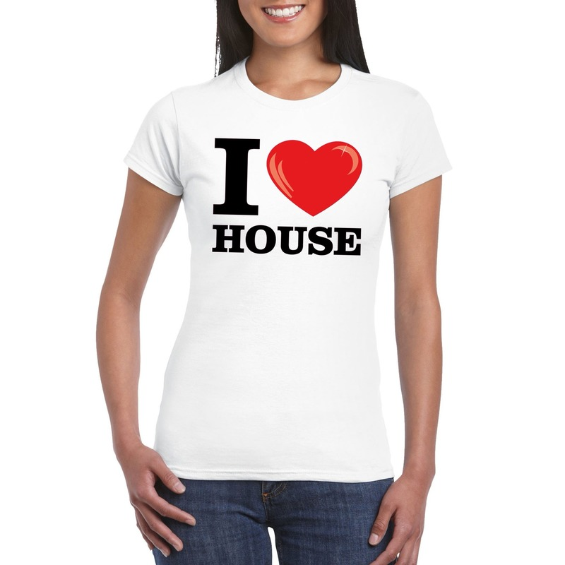 I love house t-shirt wit dames L Wit