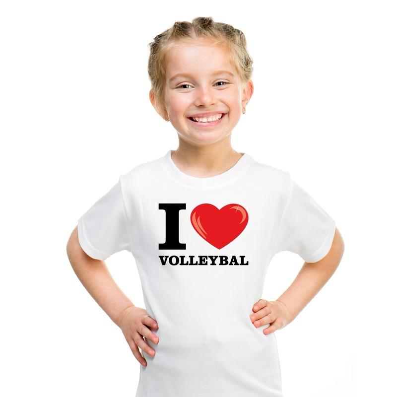 I love volleybal t-shirt wit jongens en meisjes M (134-140) Wit
