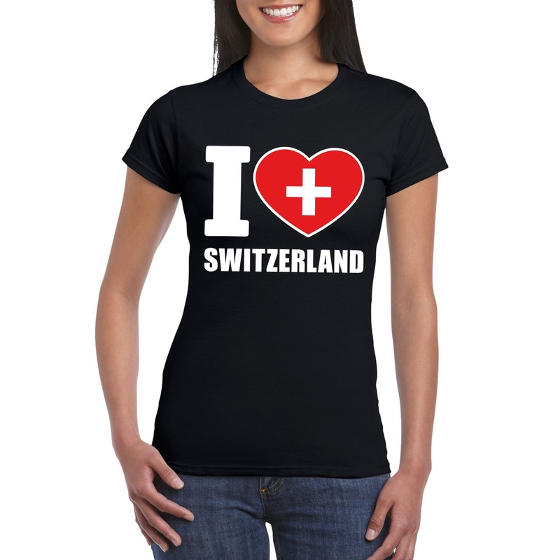 I love Zwitserland supporter shirt zwart dames