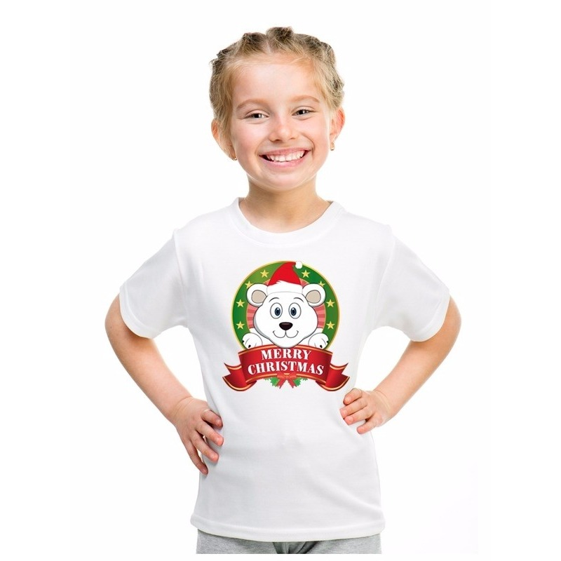 IJsbeer kerstmis shirt wit voor jongens en meisjes L (146-152) Multi