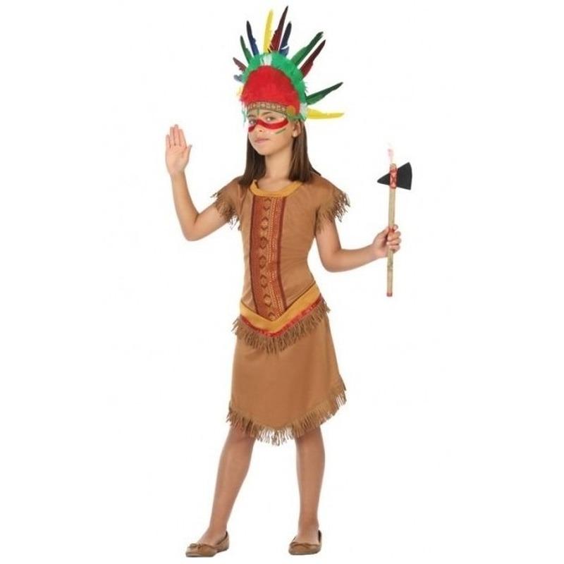 Indianen kostuum jurkje voor meisjes 140 (10-12 jaar) Bruin