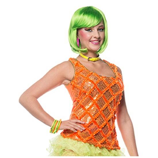 Jaren 80 hemd neon oranje 36 (S) Oranje