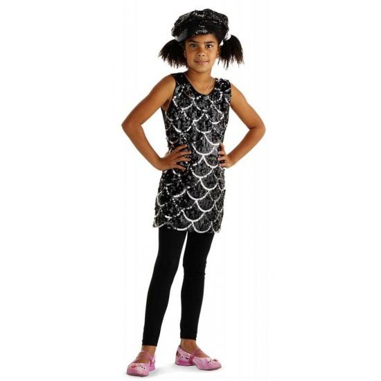 Jurkje met zwarte pailletten voor meisjes 3-6 jaar Zwart