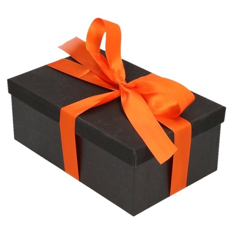 Kado doosjes zwart glitter 7 cm rechthoek met oranje lint Zwart