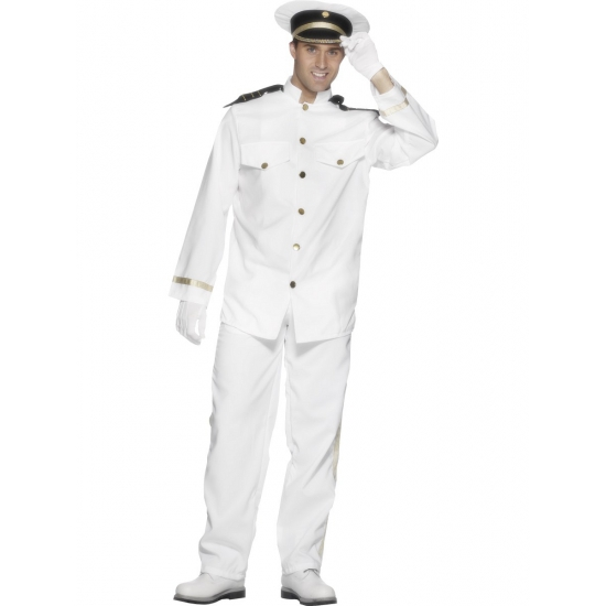 Kapitein kostuum voor heren 52-54 (L) Wit