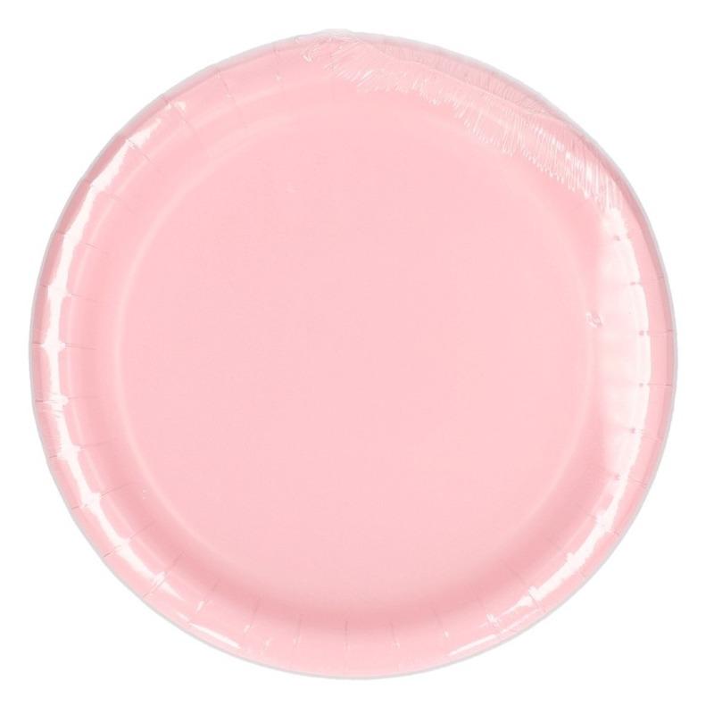 Kartonnen lichtroze borden 23 cm Roze