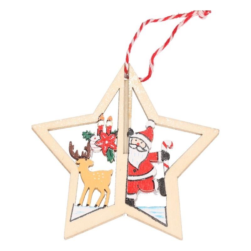 Kerst hangdecoratie kerstster met rendier 10 cm van hout