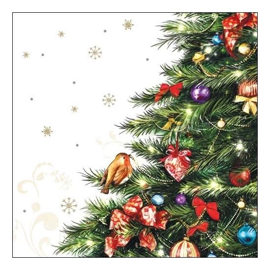 Kerst servetten met kerstboom 20 stuks Multi