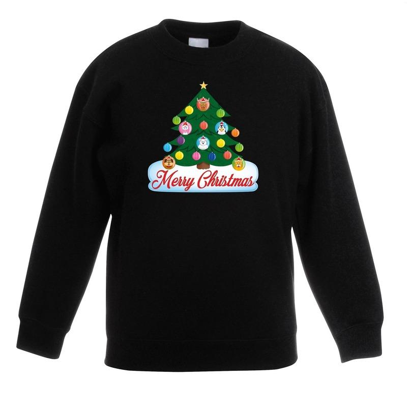 Kerst sweater met dierenvriendjes kerstboom voor kinderen 7-8 jaar (122/128) Zwart