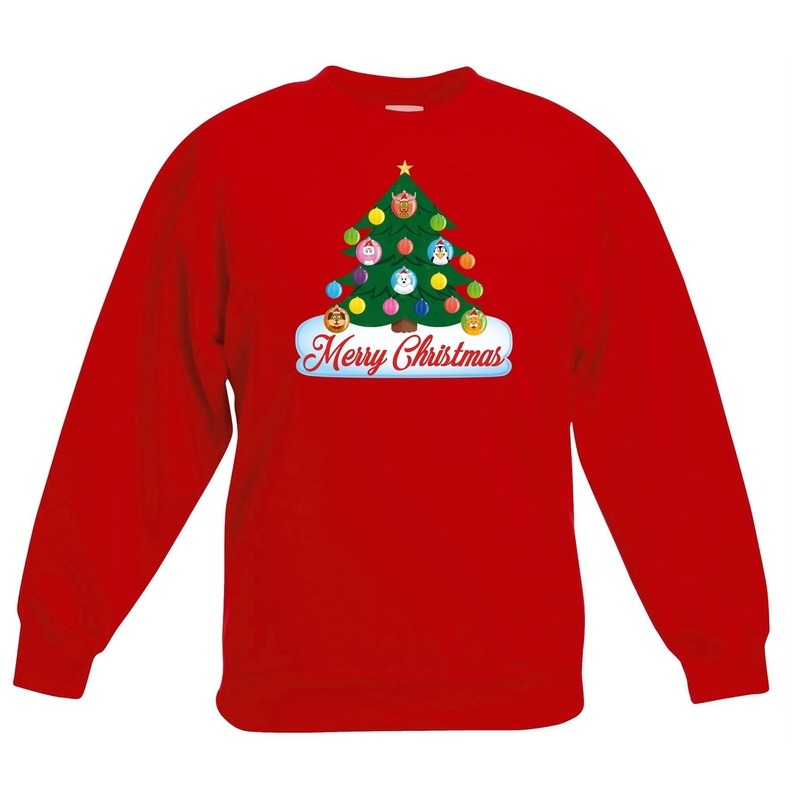 Kerst sweater met dierenvriendjes kerstboom voor kinderen 7-8 jaar (122/128) Rood