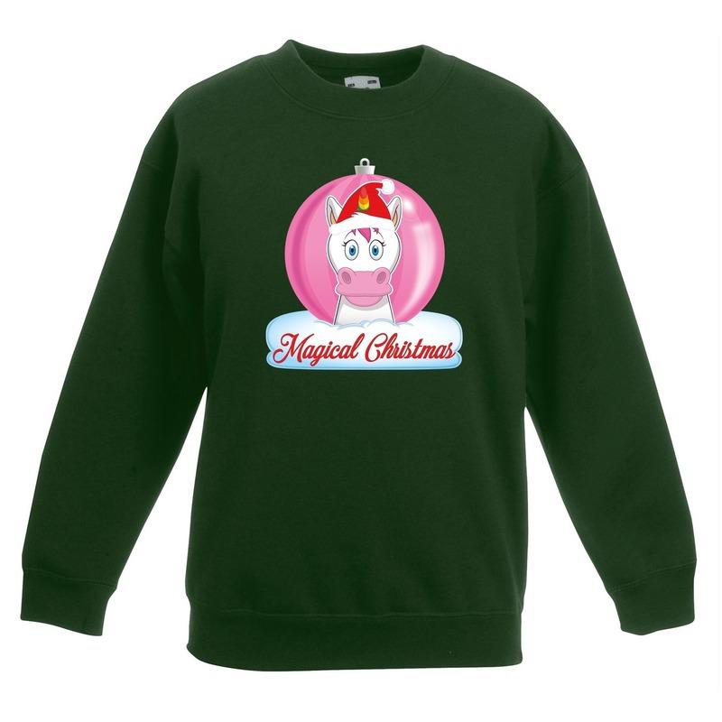 Kerst sweater - trui groen met eenhoorn voor meisjes 5-6 jaar (110/116) Groen
