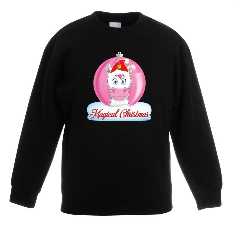 Kerst sweater / trui zwart met eenhoorn voor meisjes 7-8 jaar (122/128) Zwart