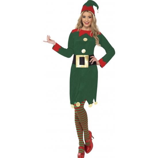 Kerstelf jurkje verkleed kostuum/outfit voor dames 36-38 (S) Groen
