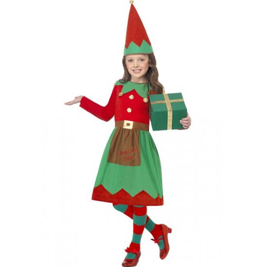 Kerstelf kostuum voor meiden 130-143 (7-9 jaar) Multi