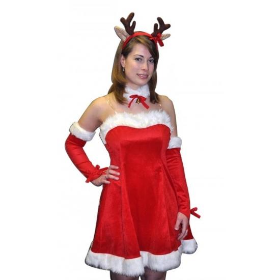 Kerstjurk Rudi met diadeem voor dames One size Rood
