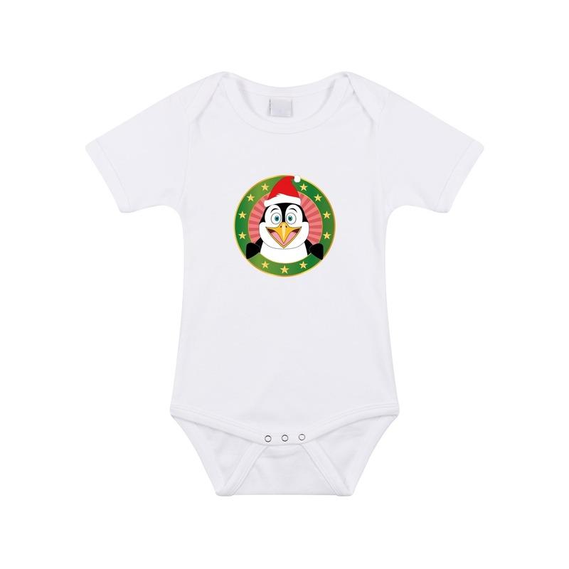 Kerstkleding baby rompertje met kerst pinguin wit jongens en meisjes 80 (9 12 maanden) Rompertjes