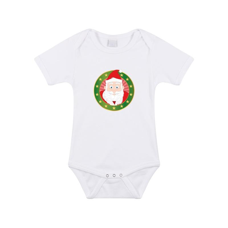 Kerstkleding baby rompertje met kerstman wit jongens en meisjes 80 (9 12 maanden) Rompertjes