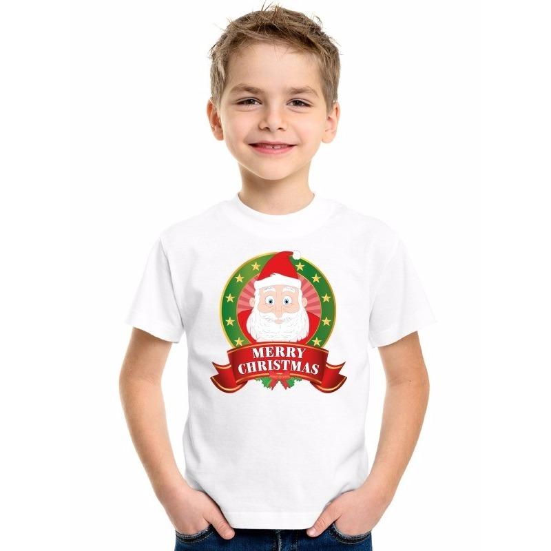 Kerstman kerstmis shirt wit voor jongens en meisjes M (134-140) Multi