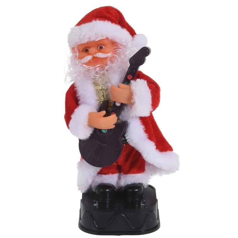 Kerstman pop met beweging en geluid 20 cm