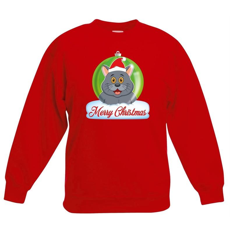 Kersttrui grijze kat / poes kerstbal rood voor jongens en meisjes 3-4 jaar (98/104) Rood