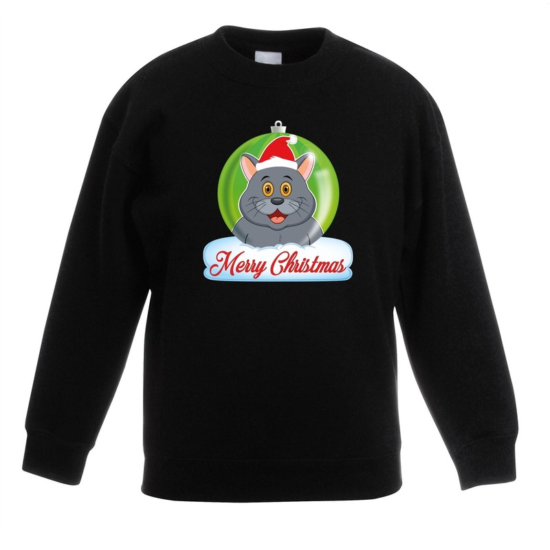 Kersttrui grijze kat / poes kerstbal zwart voor jongens en meisjes 9-11 jaar (134/146) Groen