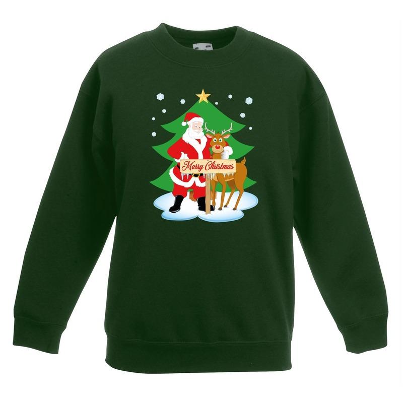 Kersttrui kerstman en rendier voor kerstboom groen voor jongens en meisjes 3-4 jaar (98/104) Groen