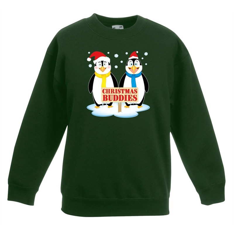 Kersttrui met 2 pinguin vriendjes groen voor jongens en meisjes 14-15 jaar (170/176) Groen