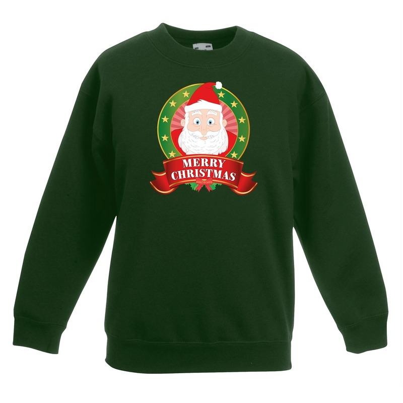 Kersttrui met de kerstman groen voor jongens en meisjes 12-13 jaar (152/164) Groen