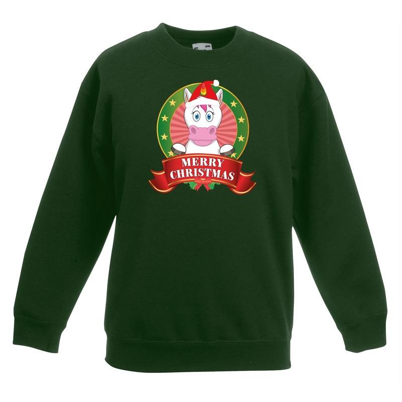 Kersttrui met eenhoorn groen voor jongens en meisjes 12-13 jaar (152/164) -