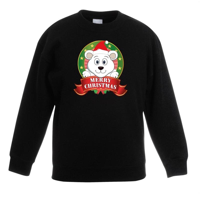 Kersttrui met ijsbeer zwart voor jongens en meisjes 9-11 jaar (134/146) Zwart