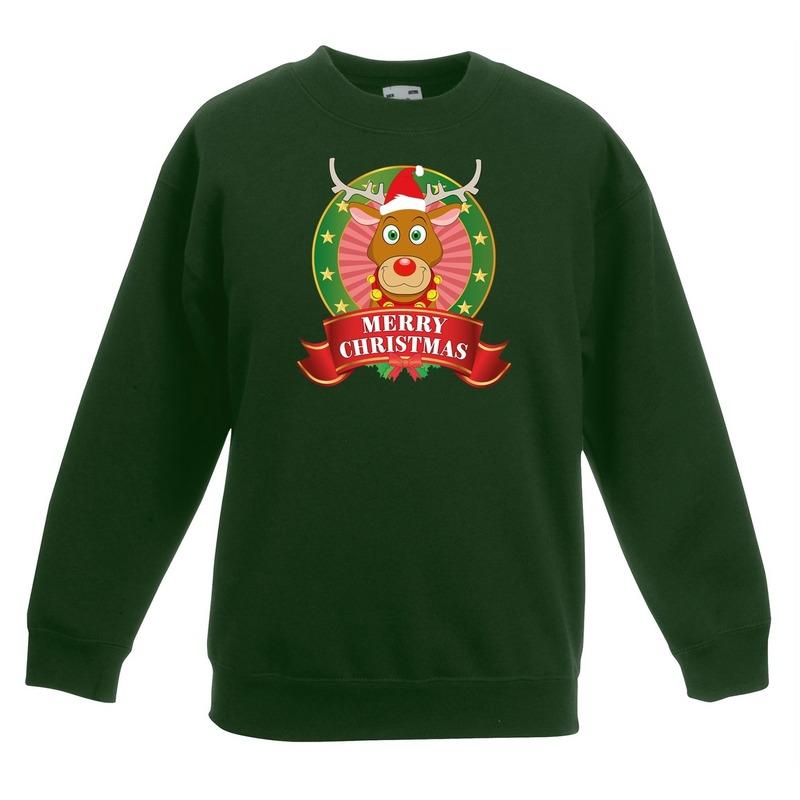 Kersttrui met Rudolf het rendier groen voor jongens en meisjes 5-6 jaar (110/116) -