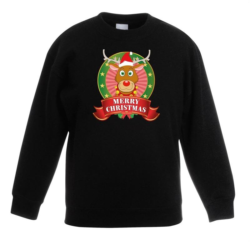 Kersttrui met Rudolf het rendier zwart voor jongens en meisjes 14-15 jaar (170/176) -