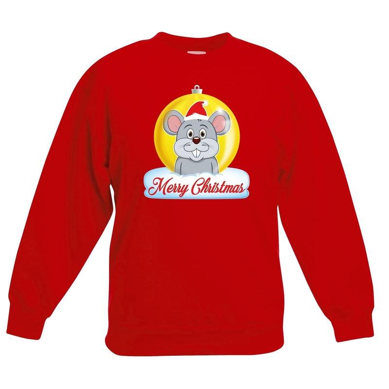 Kersttrui muis kerstbal rood voor jongens en meisjes 14-15 jaar (170/176) Rood