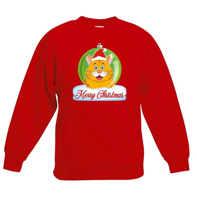 Kersttrui oranje kat / poes kerstbal rood voor jongens en meisjes 12-13 jaar (152/164) Rood