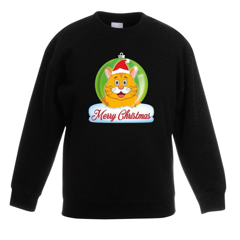 Kersttrui oranje kat / poes kerstbal zwart voor jongens en meisjes 9-11 jaar (134/146) Zwart
