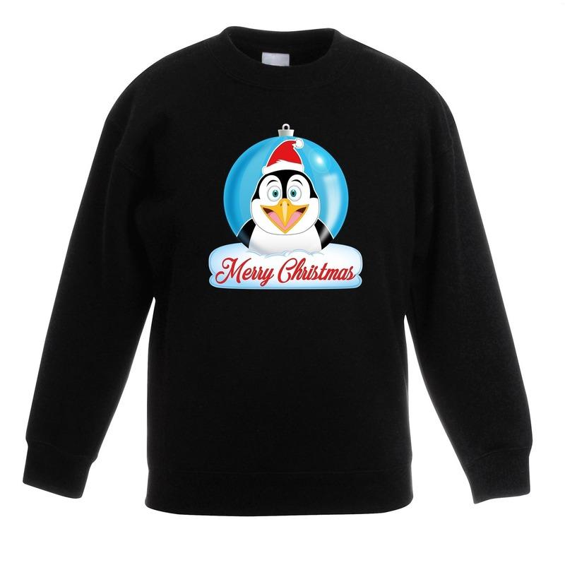 Kersttrui pinguin kerstbal zwart voor jongens en meisjes 14-15 jaar (170/176) Zwart