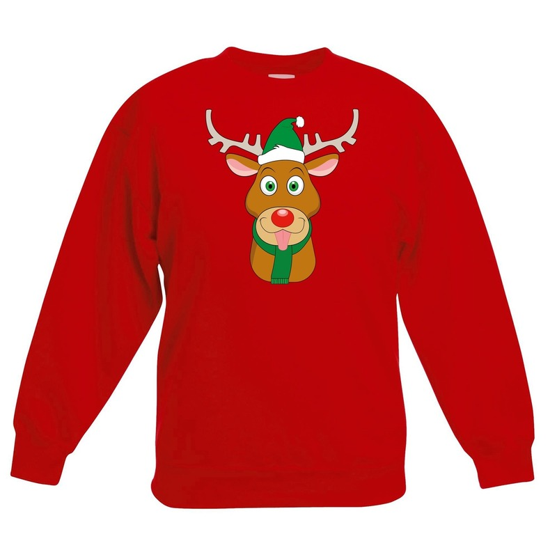 Kersttrui rendier Rudolf met groene muts rood voor jongens en meisjes 12-13 jaar (152/164) Rood