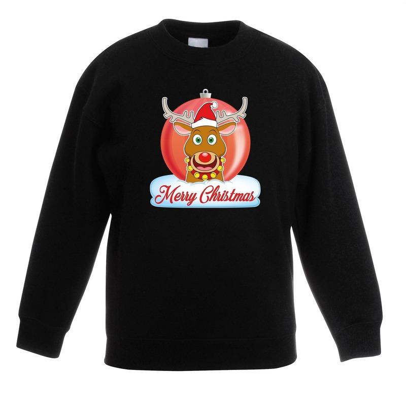 Kersttrui Rudolf kerstbal zwart voor jongens en meisjes 9-11 jaar (134/146) Zwart