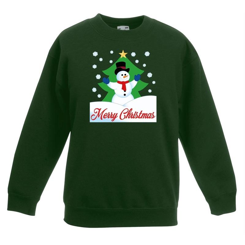 Kersttrui sneeuwman voor kerstboom groen voor jongens en meisjes 12-13 jaar (152/164) Groen