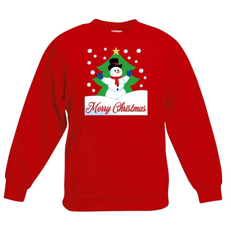Kersttrui sneeuwman voor kerstboom rood voor jongens en meisjes 9-11 jaar (134/146) Rood