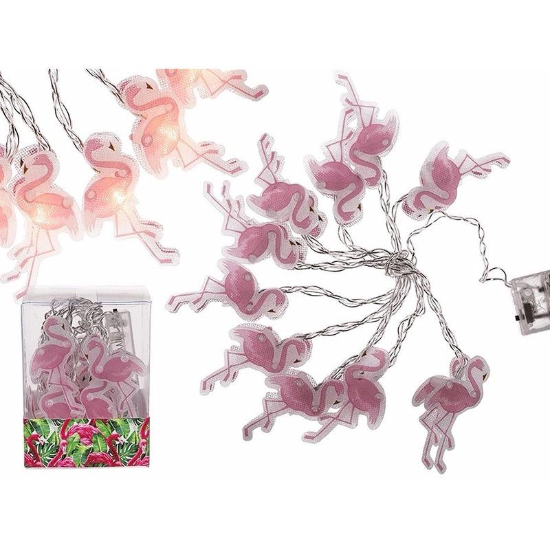Decoratie led verlichting lichtsnoer flamingo 165 cm op batterijen. deze led slinger met 10 kleine flamingo ...
