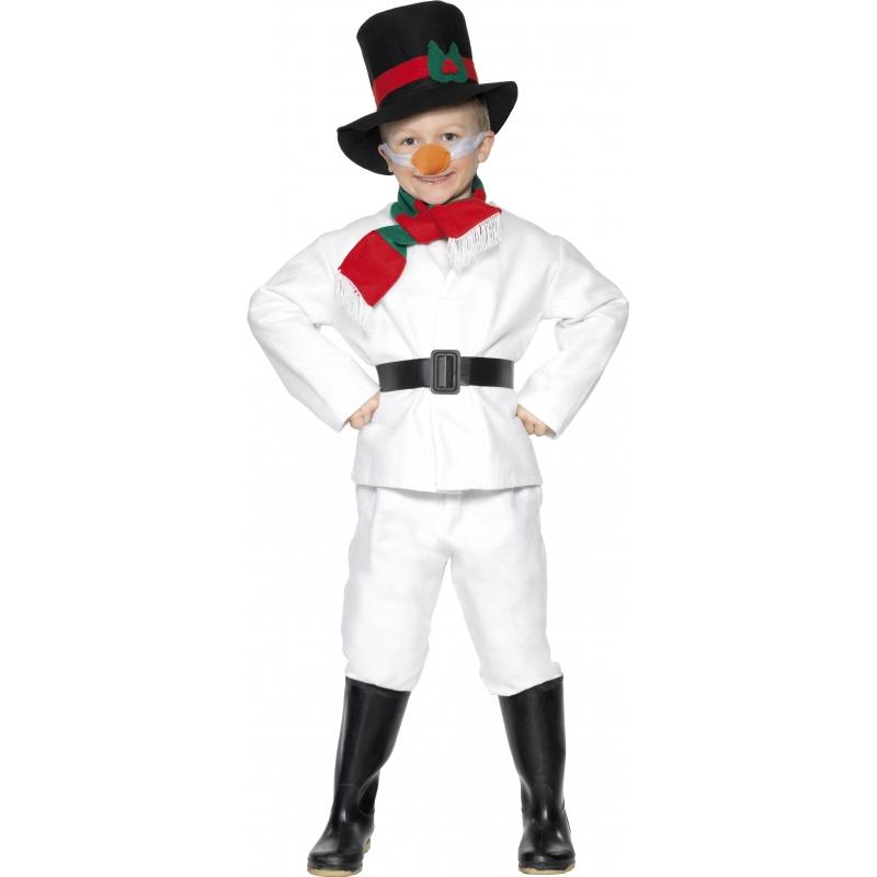 Kinder sneeuwman kostuum 140-152 (9-12 jaar) Wit