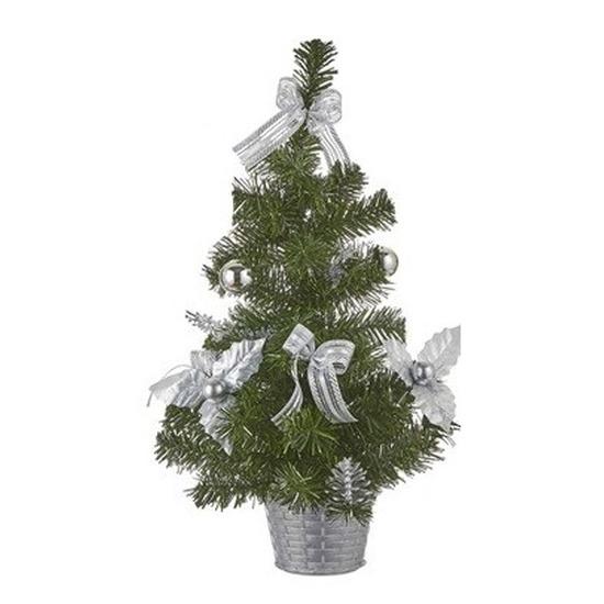 Kleine kunst Kerstboom met zilveren Kerstversiering 52 cm