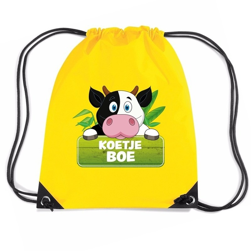 Koetje Boe koeien trekkoord rugzak gymtas geel voor kinderen Gymtasje zwemtasje