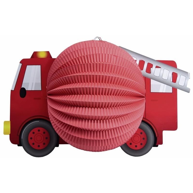 Lampion rode brandweerauto 20 cm Rood