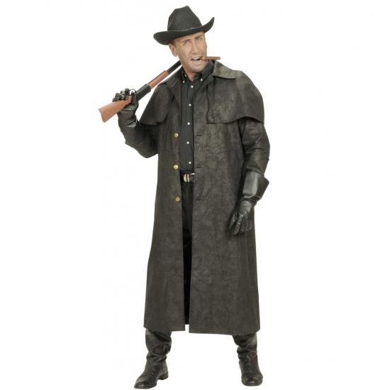 Lange cowboy jas voor heren verkleed kostuum M Zwart