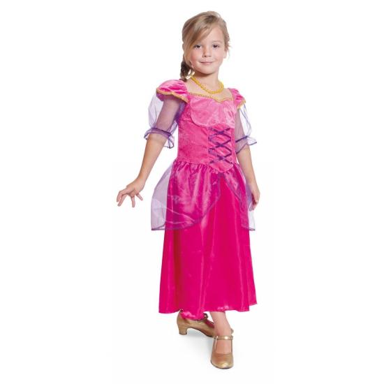 Lange fuchsia roze prinsessen jurk 6-8 jaar Roze